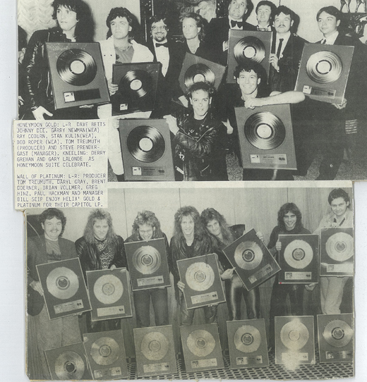 Tom and gold and platinum records