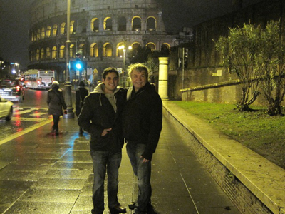 Tom and Albert standing in front of the Coliseum in Rome